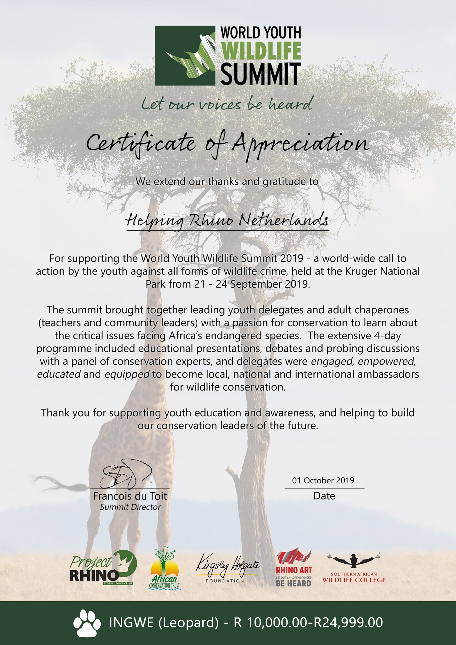 Helping Rhino certificate of thanks